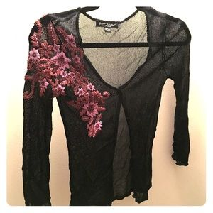 Betsey Johnson size s, mesh embroidered cardigan